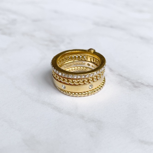 Kate Spade Gold Crystal Stacked Rings